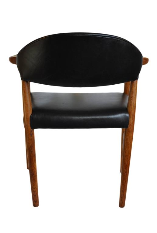 Kurt olsen chair fully reupholstered in black leather for Reupholstered chairs for sale