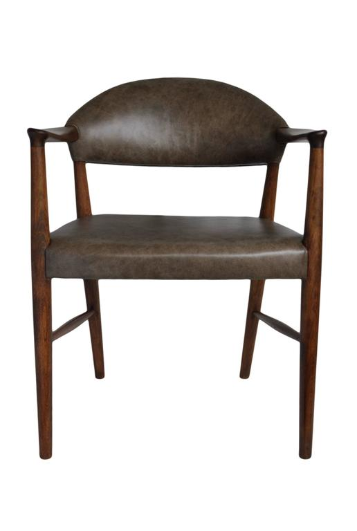 20th Century Kurt Olsen Armchair, fully restored in Italian Leather For Sale