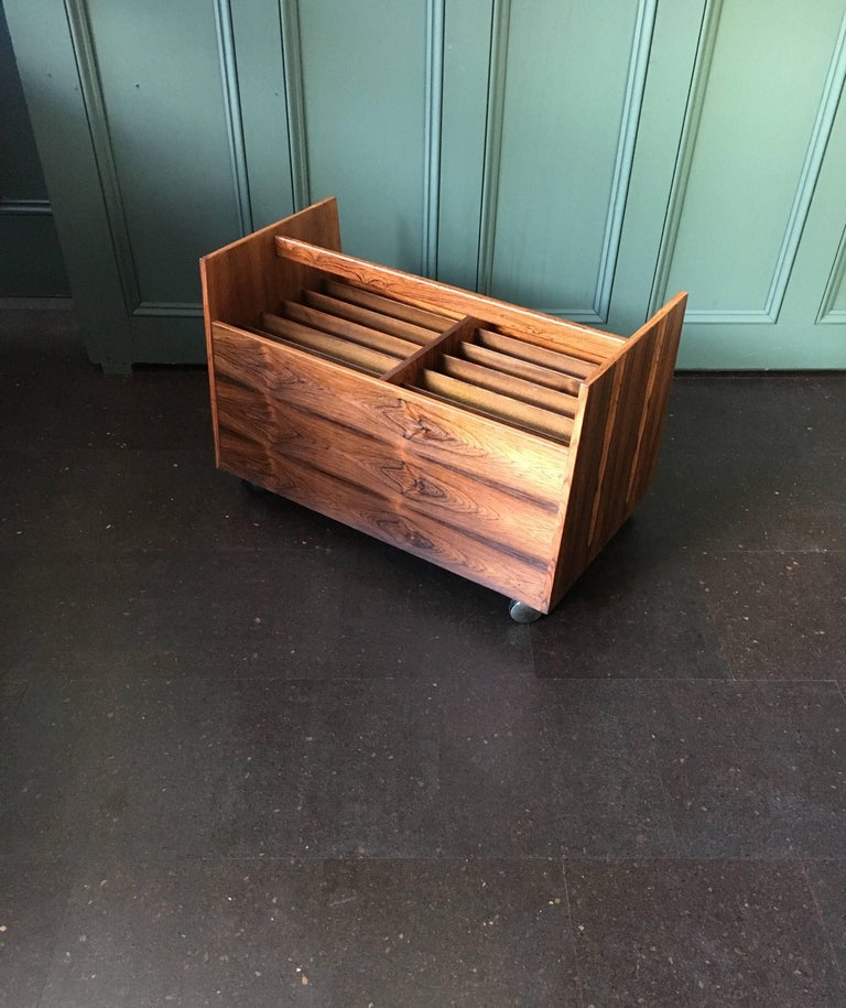 Veneer Midcentury Magazine Rack by Rolf Hesland For Sale