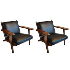 Pair of Hans J Wegner GE290 Lounge Chairs, Fumed Oak, Fully Refurbished