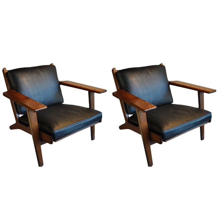 Pair of Hans J Wegner GE290 Lounge Chairs, Fumed Oak, Fully Refurbished