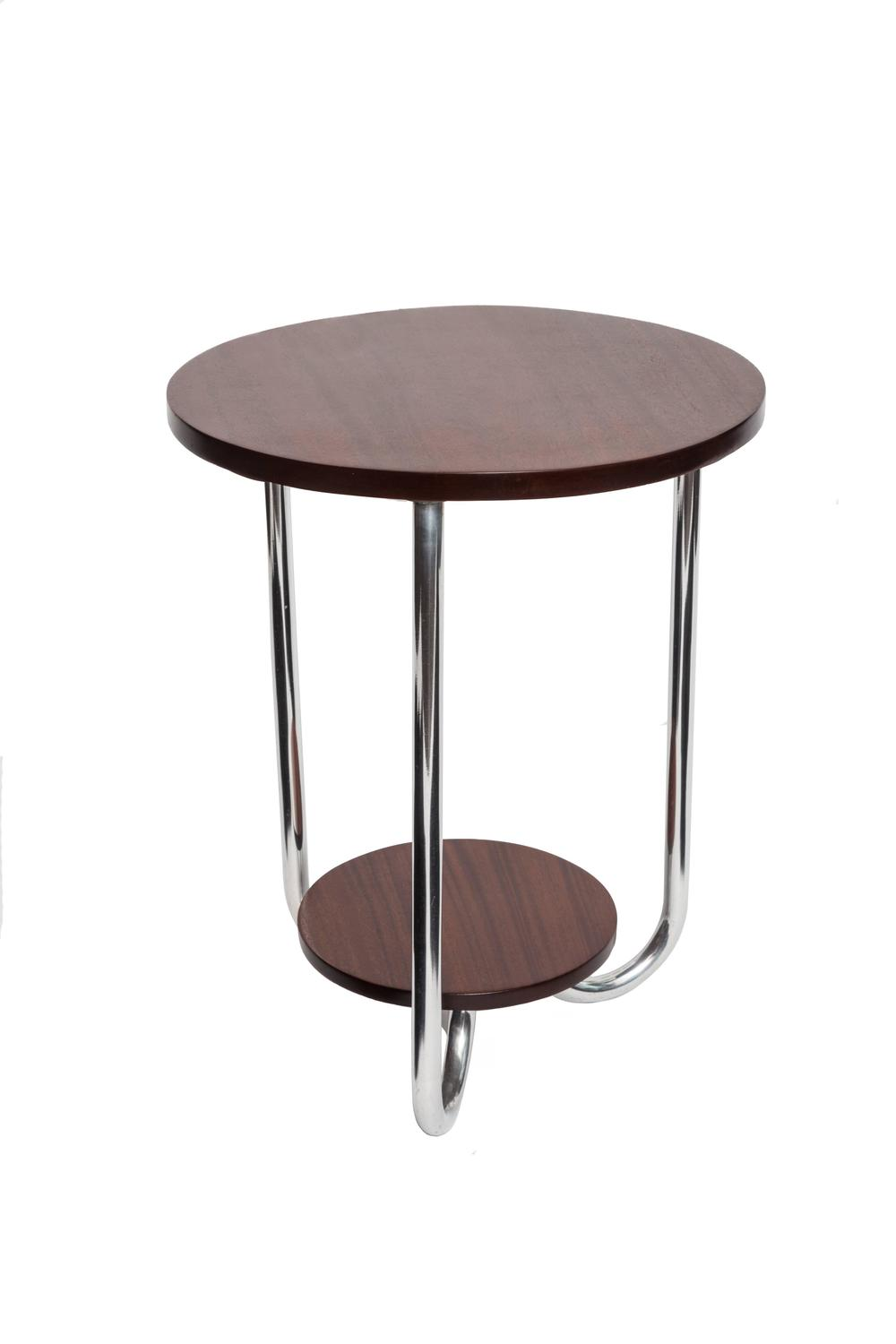 Mid-Century Modern Walnut and Chrome Side Table at 1stdibs