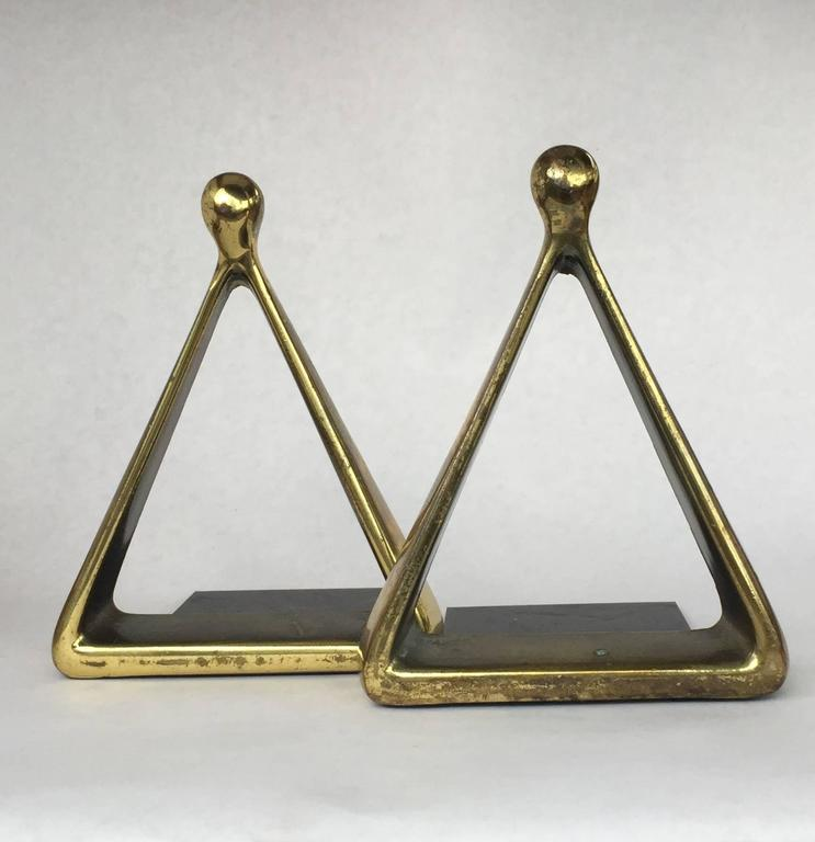 Sculptural and beautiful brass-plated bookends designed by Ben Seibel for Raymor. Signed Jenfredware.