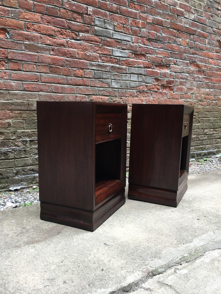 Modern Pair of Charles Furniture Mahogany End Tables For Sale