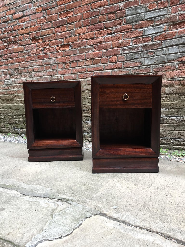 Mid-20th Century Pair of Charles Furniture Mahogany End Tables For Sale
