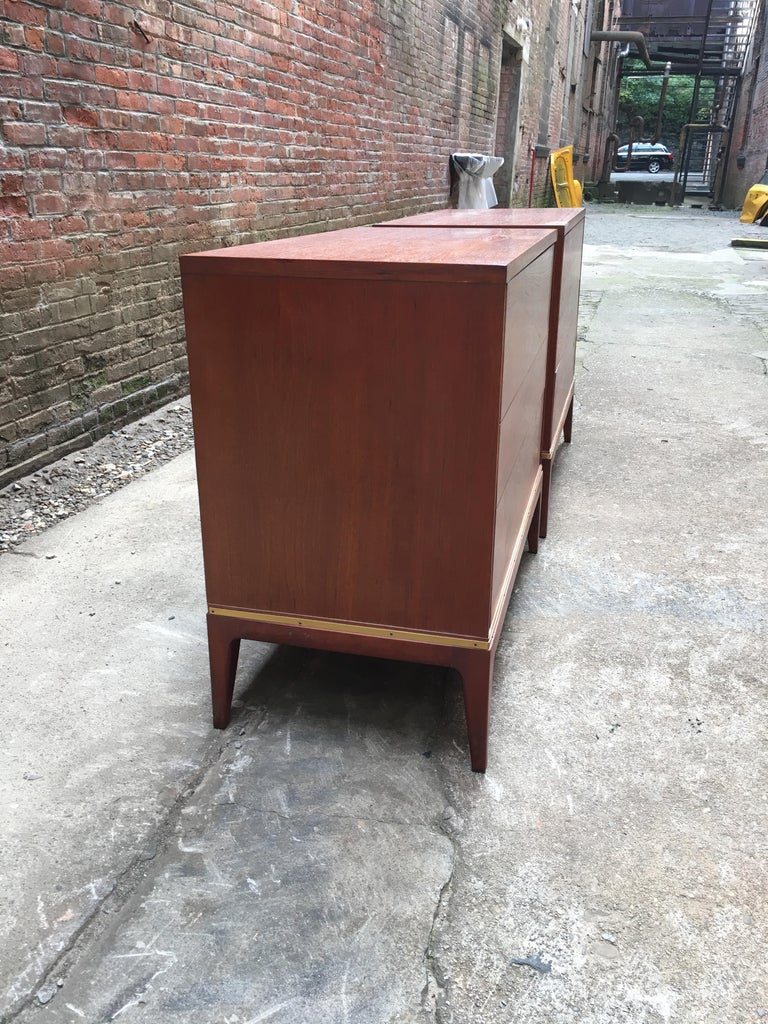Mid-Century Modern Pair of Teak and Brass John Stuart Dressers For Sale
