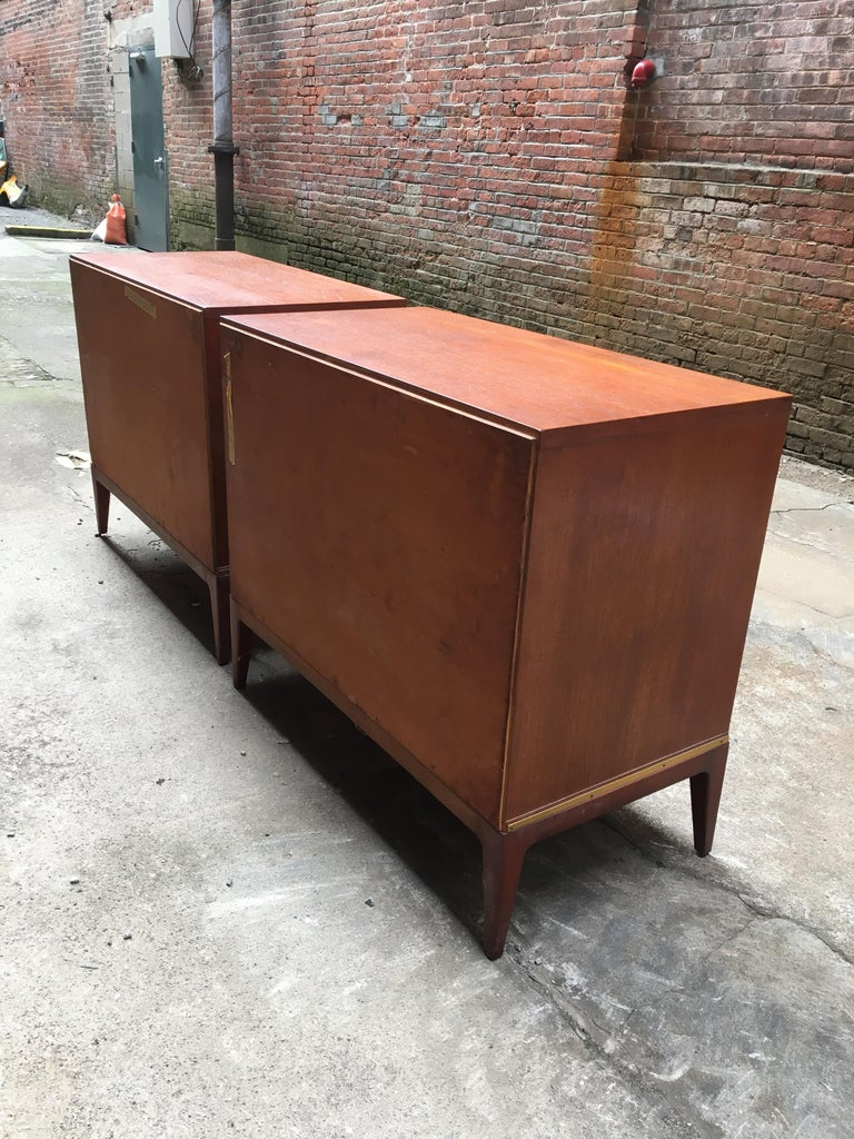 American Pair of Teak and Brass John Stuart Dressers For Sale