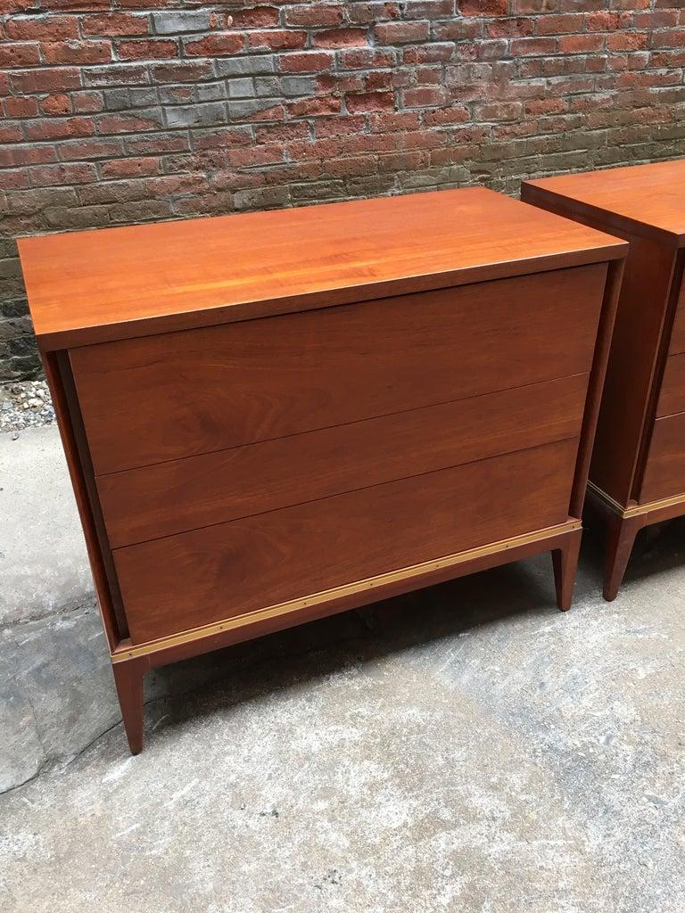 Mid-20th Century Pair of Teak and Brass John Stuart Dressers For Sale