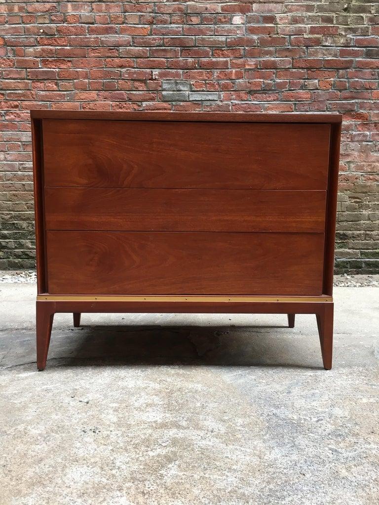 Pair of Teak and Brass John Stuart Dressers For Sale 1