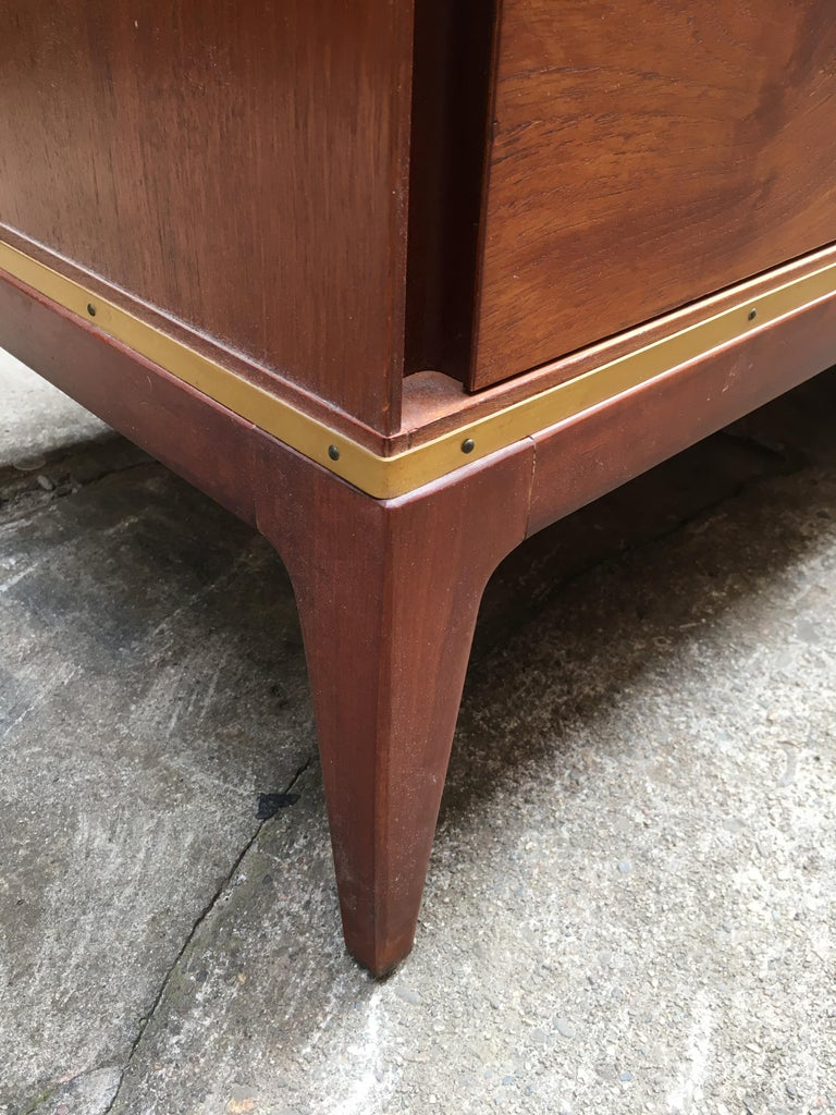 Pair of Teak and Brass John Stuart Dressers For Sale 2