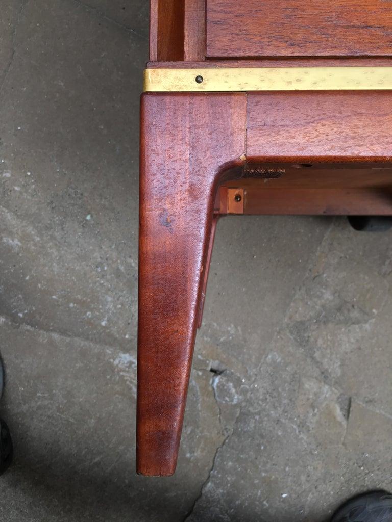 Pair of Teak and Brass John Stuart Dressers For Sale 5