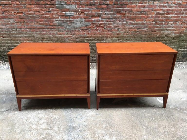 Veneer Pair of Teak and Brass John Stuart Dressers For Sale
