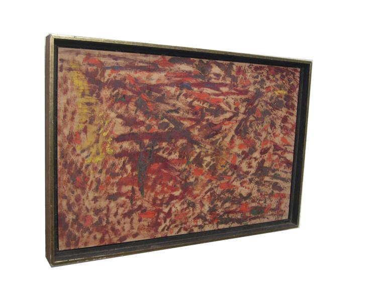 """Signed Wigs Frank, lower right. Entitled """"War"""" and dated verso, Spring 1965. Oil on board. Framing treatment consists of a simple black and gold wood profile molding. The overall dimensions are 13"""" x 19"""" and the board dimensions are 12"""" x 18""""."""