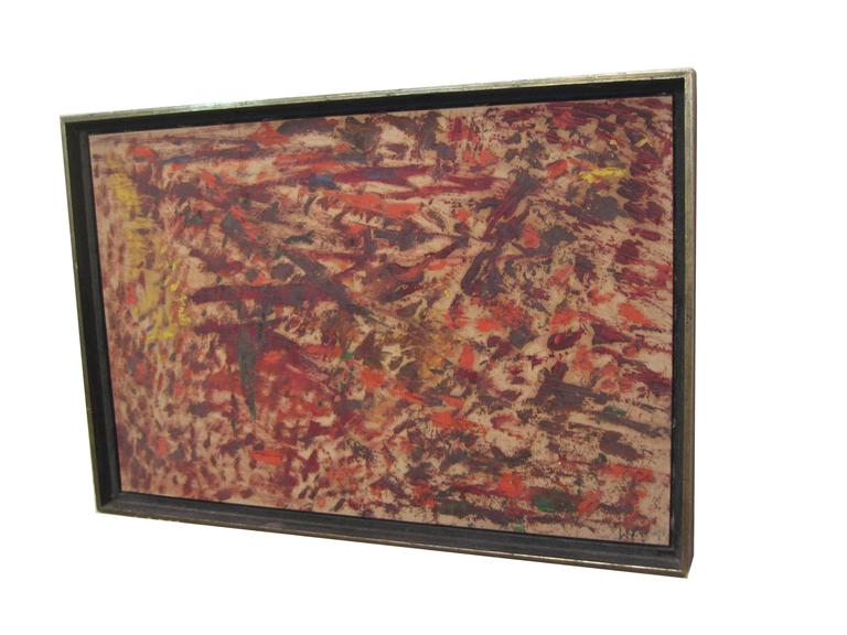 Mid-Century Modern Wigs Frank 1965 Abstract Expressionist Painting For Sale