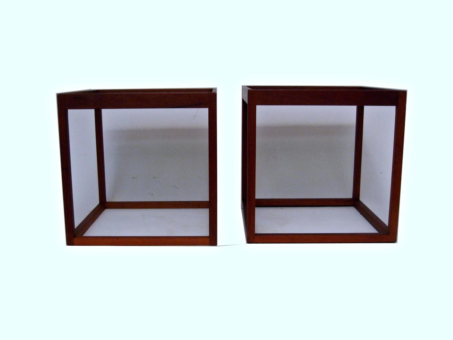 Danish Modern Teak And Smoked Glass Cube End Tables At 1stdibs