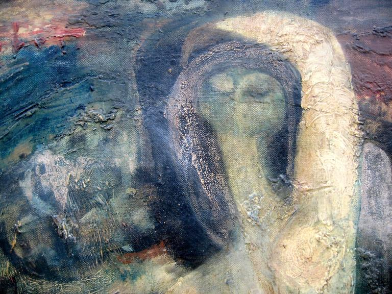 1960 Marco Zubar Modernist Female Nude Painting For Sale