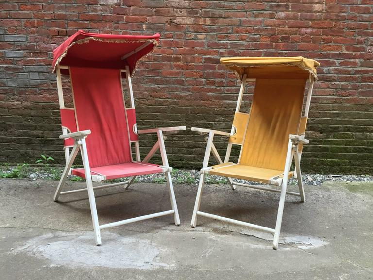 Vintage Hamptons Folding Cabana Chairs At 1stdibs