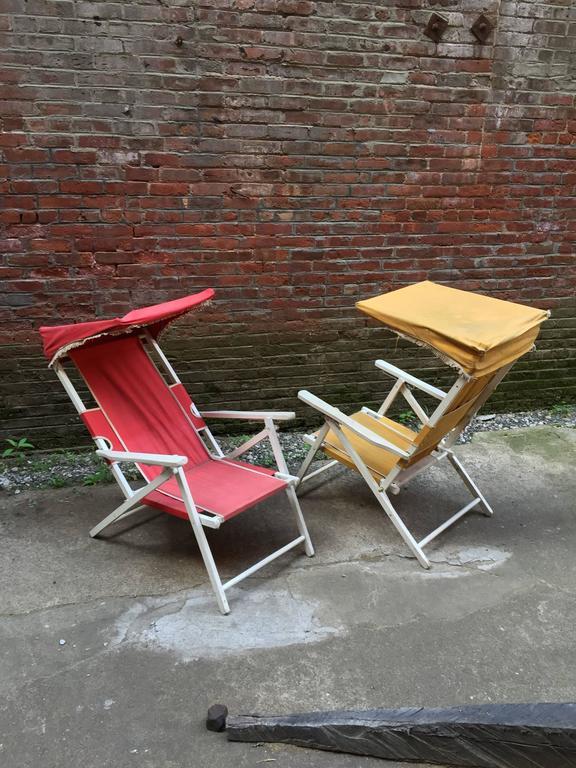 Vintage Hamptons Folding Cabana Chairs At 1stdibs