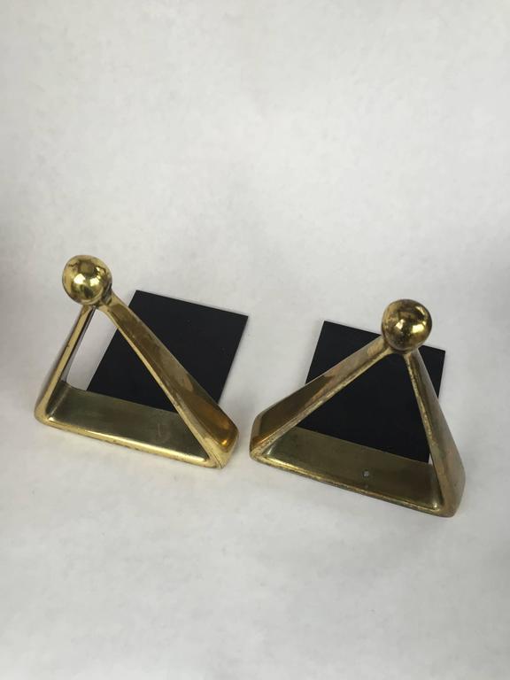 American Modern Ben Seibel Jenfred Ware Brass Bookends For Sale