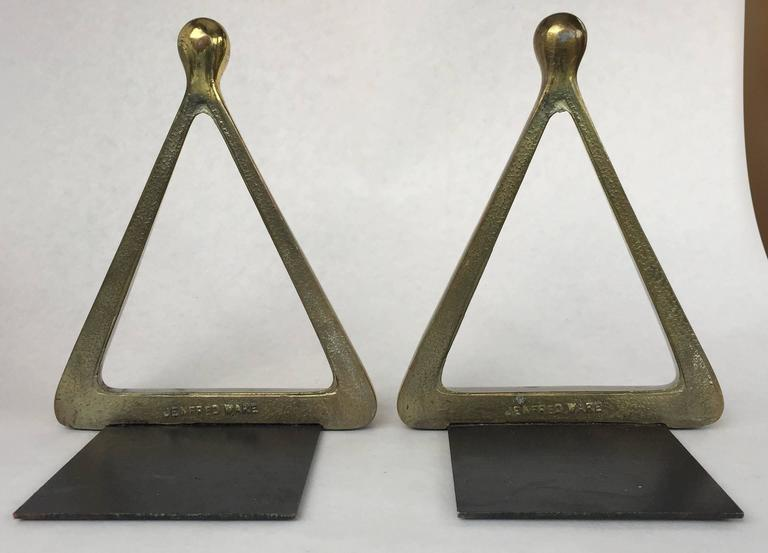 Plated Ben Seibel Jenfred Ware Brass Bookends For Sale