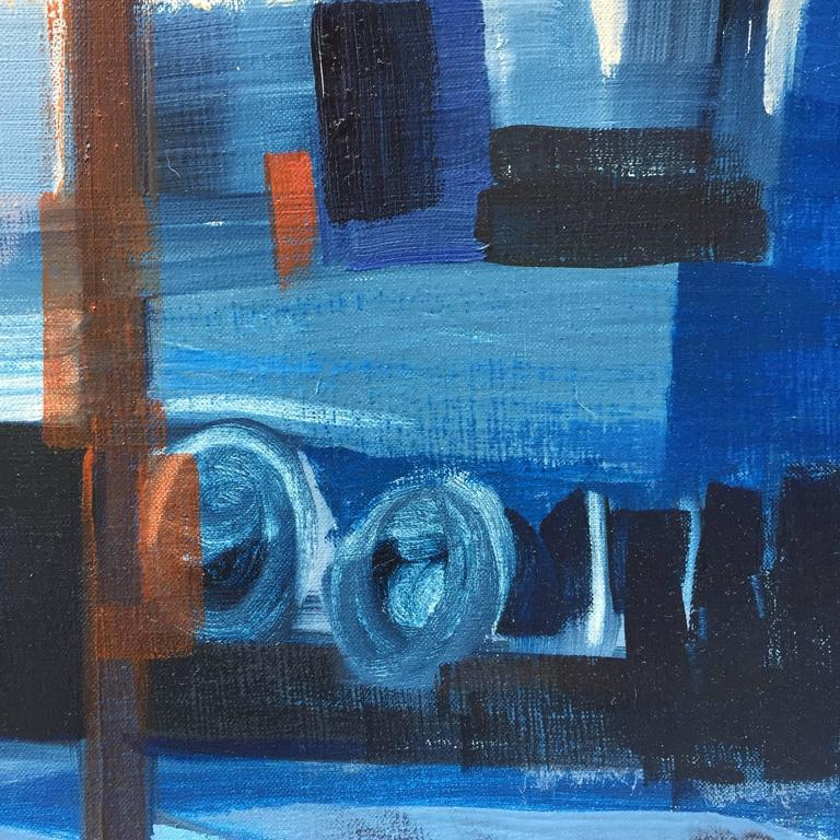 American E. Kunitz, 1964 Abstracted Street Scene Painting For Sale
