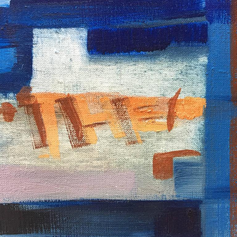 E. Kunitz, 1964 Abstracted Street Scene Painting In Good Condition For Sale In Garnerville, NY