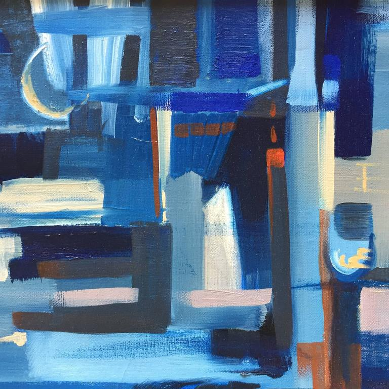 Mid-20th Century E. Kunitz, 1964 Abstracted Street Scene Painting For Sale