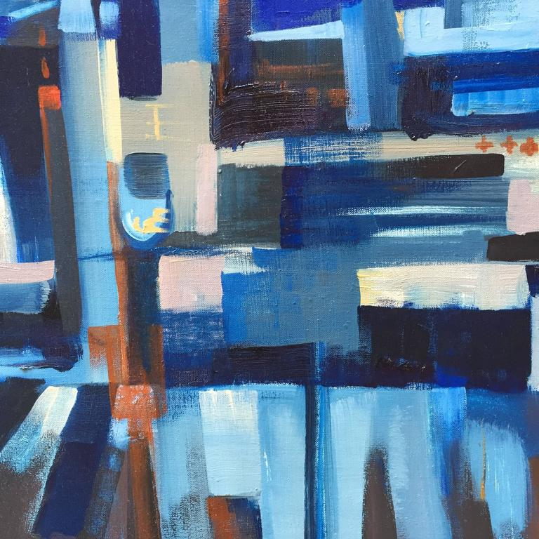 Canvas E. Kunitz, 1964 Abstracted Street Scene Painting For Sale