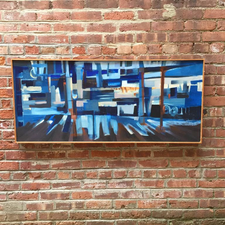E. Kunitz, 1964 Abstracted Street Scene Painting For Sale 3