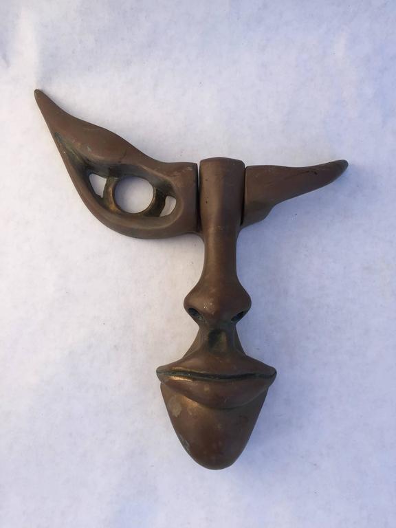 Modernist Cast Bronze Face Door Knocker At 1stdibs