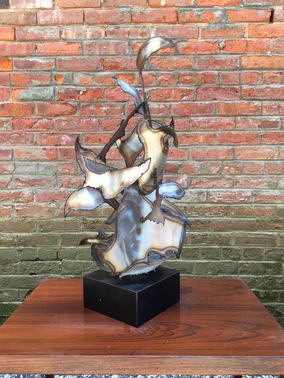 Cut Steel 1967 Torch Cut Brutalist Metal Sculpture Signed George Kafka
