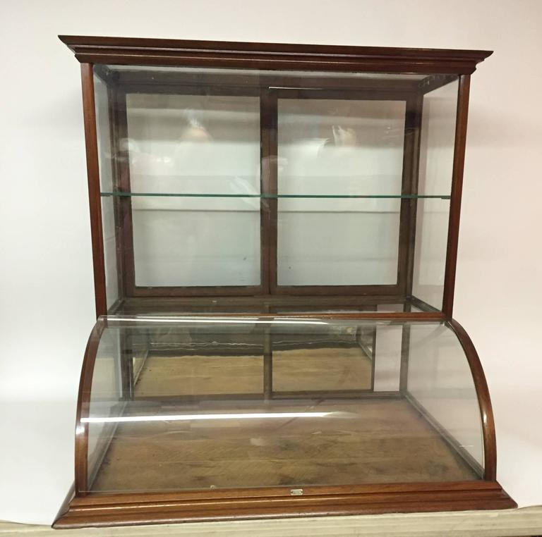 Monumental Walnut Curved And Mirrored Glass Display Cabinet. Tall Counter  Top Display Typically Found In