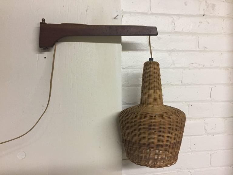 Danish Modern Wicker And Teak Swing Arm Wall Lamp At 1stdibs