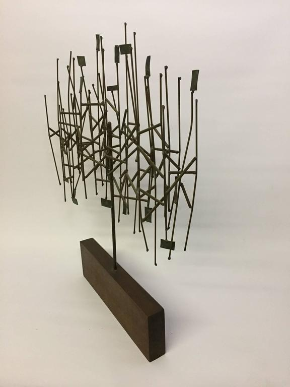 Mid-Century Modern 1960s Mixed Metals Abstracted Tree Sculpture in the Manner of Harry Bertoia For Sale