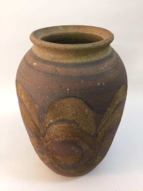 Organic Modern Beautiful 1970s Studio Pottery Vase For Sale