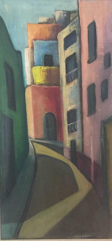 1950s Modernist Street Scene Painting For Sale At 1stdibs