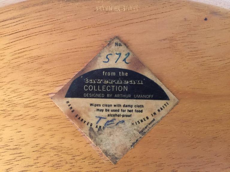Arthur Umanoff Taverneau Collection Carved Wood Bowl For Sale 1