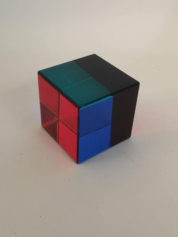 Contemporary Signed Vasa Mihich Op Art Acrylic Cube For Sale