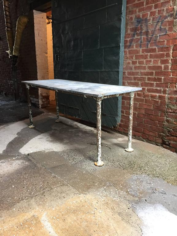 Schoolhouse Galvanized Zinc And Steel Work Table At 1stdibs