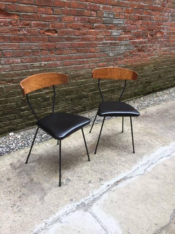 American Modern Pair of Iron and Walnut Chairs in the Manner of Clifford Pascoe For Sale