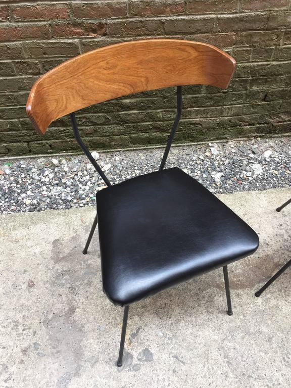 American Pair of Iron and Walnut Chairs in the Manner of Clifford Pascoe For Sale