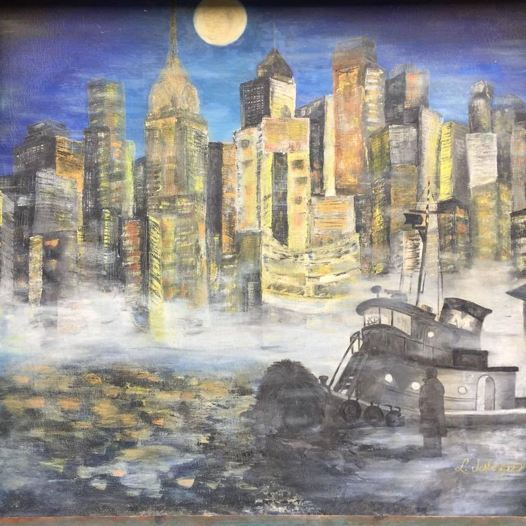 3 Piece Painting On Canvas Wall Art Nyc Street Lights New: 1960s NYC East River Cityscape Painting For Sale At 1stdibs