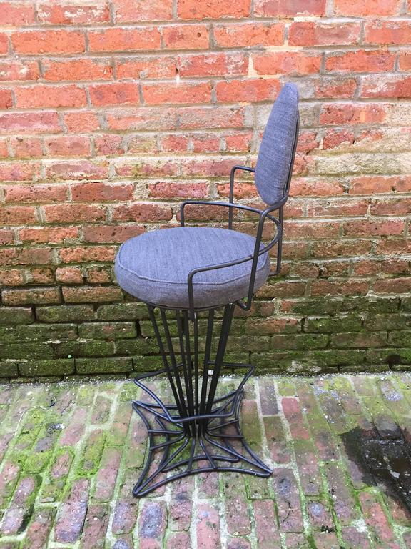 American Set of Four Iron Swivel Stools For Sale