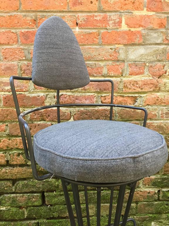 Mid-20th Century Set of Four Iron Swivel Stools For Sale