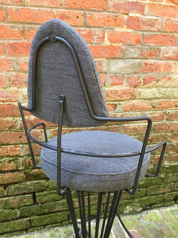 Upholstery Set of Four Iron Swivel Stools For Sale