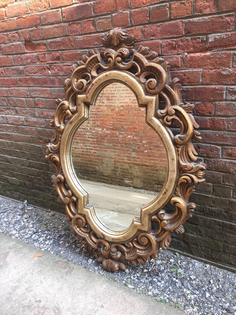 Italian scroll carved and gilded baroque style mirror for for Gilded baroque mirror