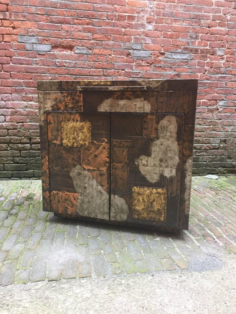 Mid-Century Modern Paul Evans for Directional, 1971 Patchwork Bar Cabinet For Sale