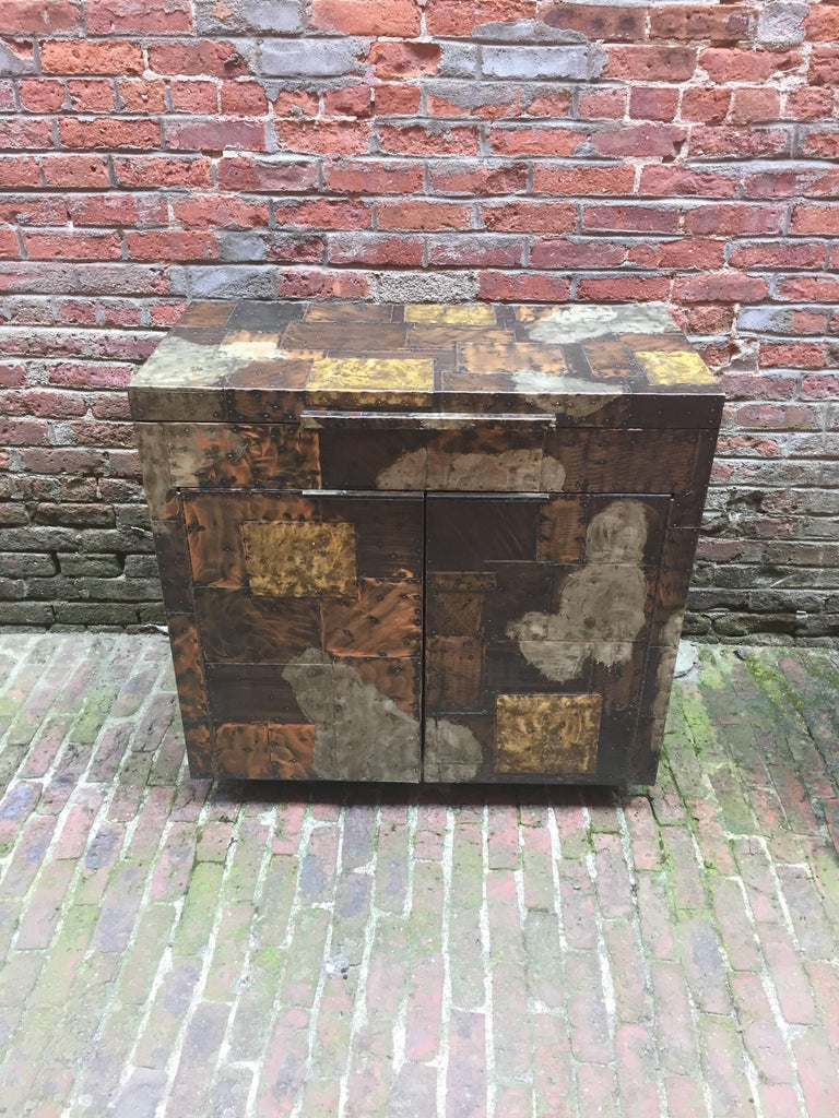 American Paul Evans for Directional, 1971 Patchwork Bar Cabinet For Sale