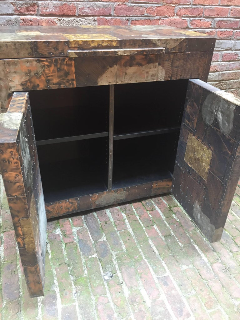 Brass Paul Evans for Directional, 1971 Patchwork Bar Cabinet For Sale