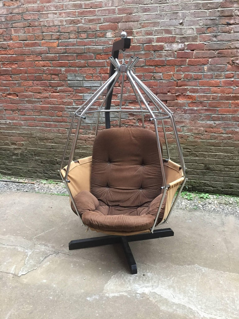 Mid-Century Modern Ib Arberg Parrot Cage Swing Chair For Sale